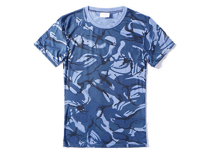 Navy Blue Military Style T Shirts For Summer , Unisex Cool Army T Shirts Moisture Absorbing